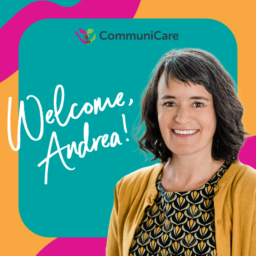 """Colorful graphic with image of Andrea Van Hagen and text that reads """"Welcome, Andrea!""""."""